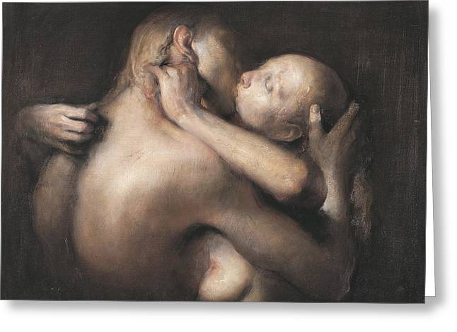 The Kiss Greeting Card by Odd Nerdrum