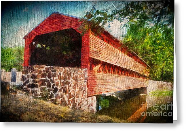 Covered Bridge Greeting Cards - The Kissing Bridge Greeting Card by Lois Bryan