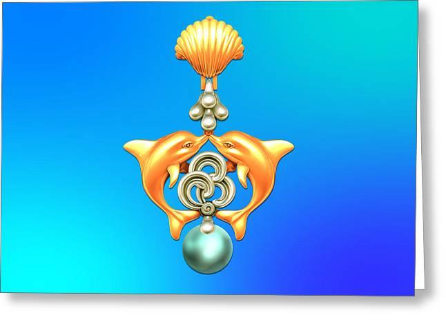 Jewelries Acrylic Prints Greeting Cards - The KISSING DOLPHINS Greeting Card by Shalva Nanaziashvili