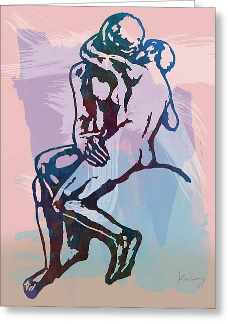 Sculpture Mixed Media Greeting Cards - The Kissing - Rodin stylized pop art poster Greeting Card by Kim Wang