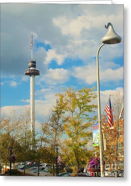 Mhs Greeting Cards - The Kissing Tower and Observation Booth and Hersheys Kiss Street Light Greeting Card by Mark Dodd