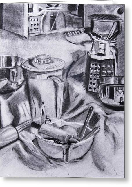 Toaster Drawings Greeting Cards - The Kitchen Greeting Card by Carly Seyferth