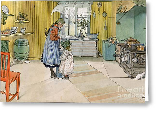 Scandinavian Greeting Cards - The Kitchen from A Home series Greeting Card by Carl Larsson