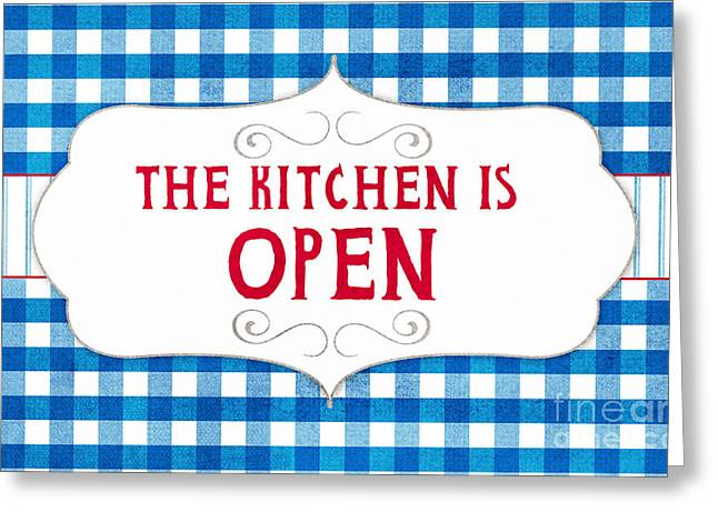 Wedding Shower Greeting Cards - The Kitchen Is Open Greeting Card by Linda Woods