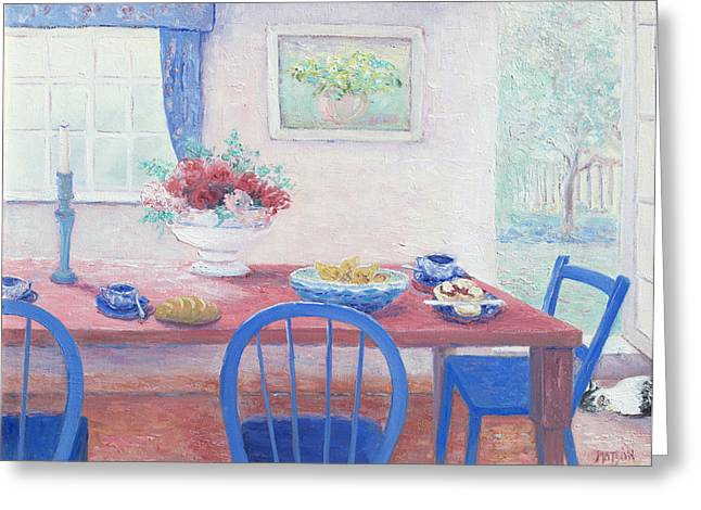 Bowl Of Flowers Greeting Cards - The kitchen table laid for lunch Greeting Card by Jan Matson