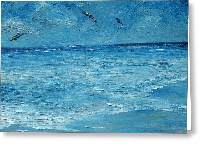 Wind Surfing Art Paintings Greeting Cards - The Kite Surfers Greeting Card by Conor Murphy