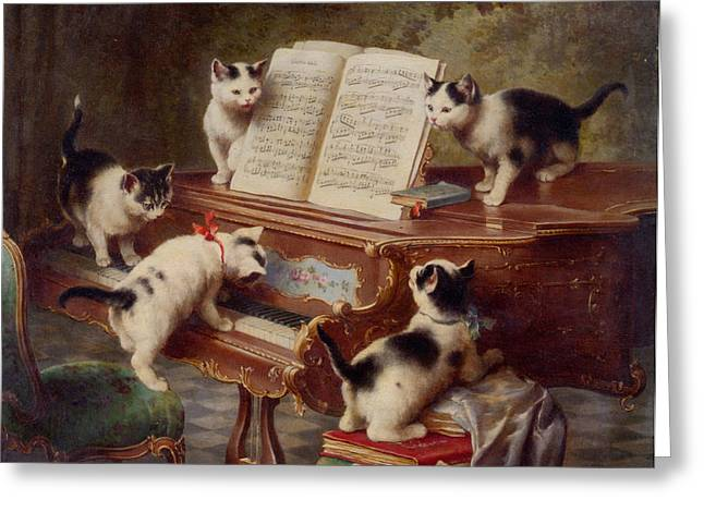 Old Masters Greeting Cards - The Kittens Recital Greeting Card by Carl Reichert