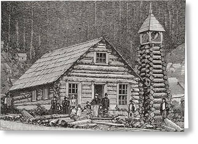 Log Cabins Greeting Cards - The Klondike Presbyterian Church At Juneau, Alaska,  Founded In 1877.  From The Strand Magazine Greeting Card by Bridgeman Images