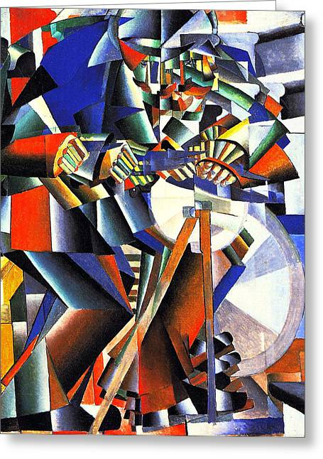 Malevich Greeting Cards - The Knife Grinder  Greeting Card by Kasimir Malevich