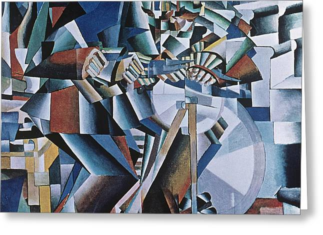 Machine Paintings Greeting Cards - The Knife Grinder Greeting Card by Kazimir  Malevich