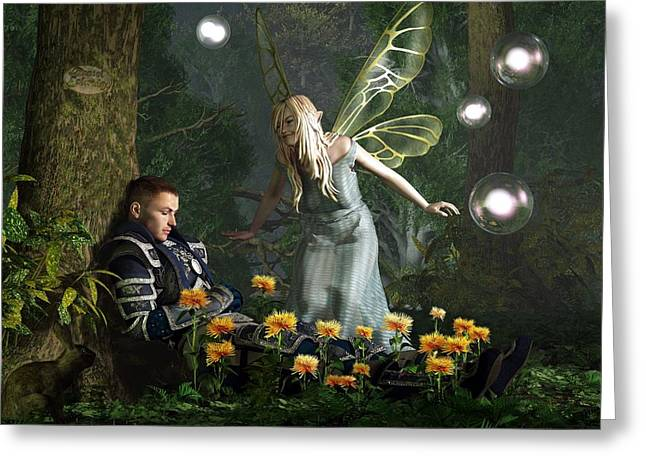 Faerie Tale Greeting Cards - The Knight and the Faerie Greeting Card by Daniel Eskridge