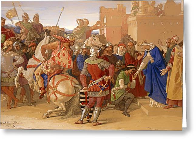 Knights Castle Paintings Greeting Cards - The Knights of the Round Table about to Depart in Search of the Holy Grail Greeting Card by William Dyce