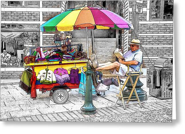 Love Asheville Greeting Cards - The Knit Cart Greeting Card by John Haldane
