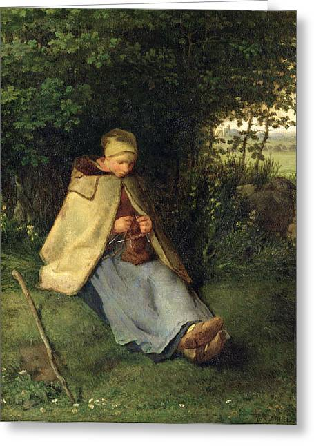 Knitting Greeting Cards - The Knitter Or, The Seated Shepherdess, 1858-60 Oil On Canvas Greeting Card by Jean-Francois Millet