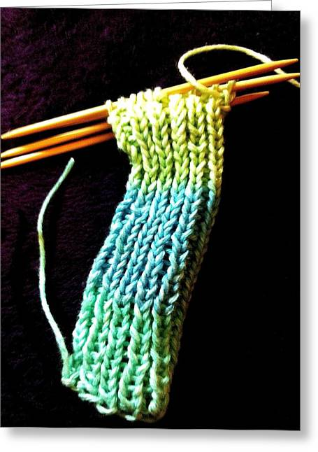 Points Tapestries - Textiles Greeting Cards - The Knitting Greeting Card by Martha Nelson
