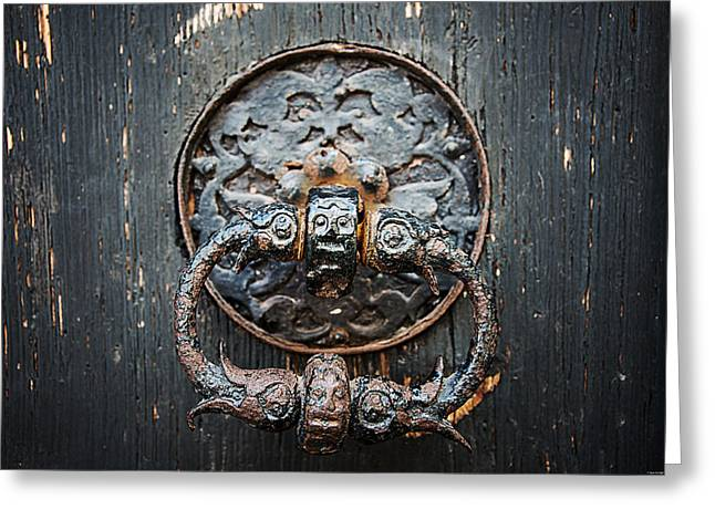 Doors Greeting Cards - The Knocker Greeting Card by Ryan Wyckoff
