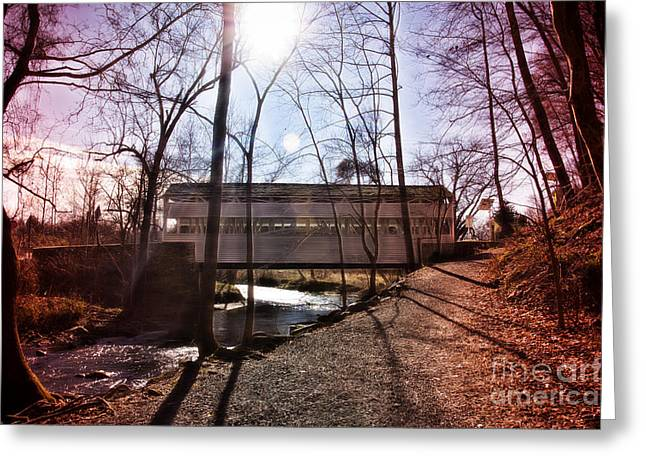 Knox Covered Bridge - Valley Forge Greeting Cards - The Knox Covered Bridge Greeting Card by Tom Gari Gallery-Three-Photography