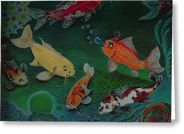 Shiny Drawings Greeting Cards - The Koi Life Greeting Card by Denisse Del Mar Guevara