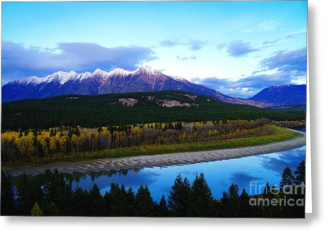 The Kootenenai River Surrounding The Canadian Rockies   Greeting Card by Jeff Swan