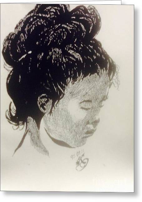 Indian Ink Mixed Media Greeting Cards - The Korean Girl Greeting Card by Franky A HICKS