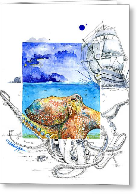 Pirate Ship Greeting Cards - The Kraken Greeting Card by Amber M  Moran