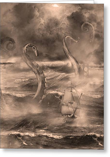 Recently Sold -  - Pirate Ships Greeting Cards - The Kraken Unleashed Greeting Card by Renato Nogueira Saltori