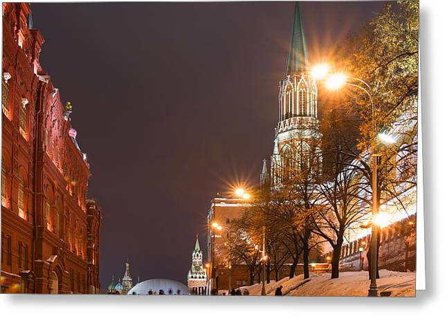 Cupola Greeting Cards - The Kremlin Passway To The Red Square At Winter Night - Square Greeting Card by Alexander Senin