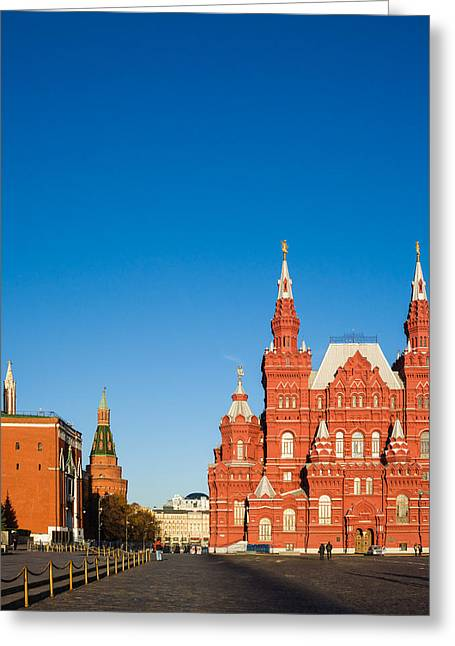 Arsenal Greeting Cards - The Kremlin Towers and the State Museum of Russian History - Square Greeting Card by Alexander Senin