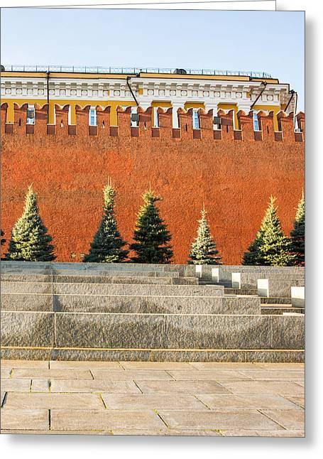 Cupola Greeting Cards - The Kremlin Wall - Square Greeting Card by Alexander Senin