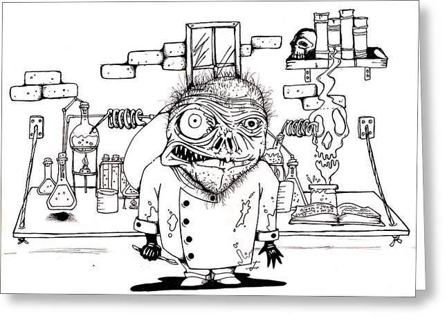 Experiment Drawings Greeting Cards - The Laboratory Greeting Card by Joseph Onescu
