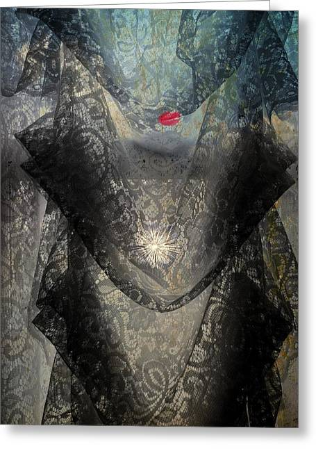 Focal Color Art Greeting Cards - The Lace Veil  Greeting Card by Kathy Barney