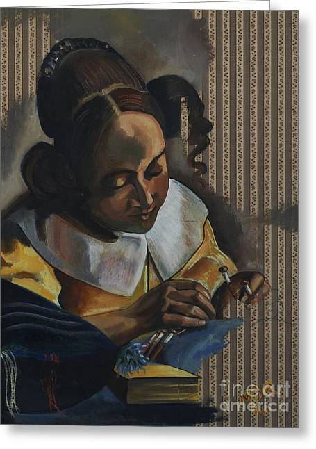 Maids Mixed Media Greeting Cards - The Lacemaker after Vermeer from series Visiting Vermeers Women by Myra OReilly Greeting Card by Myra O Reilly