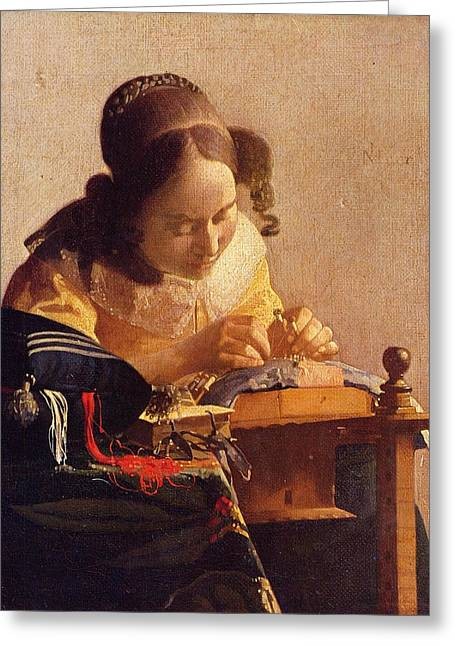 The Lacemaker Greeting Card by Johannes Vermeer