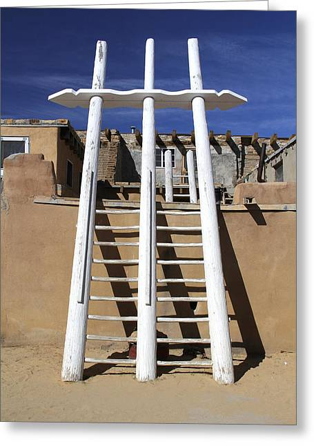 Adobe Digital Greeting Cards - The Ladder Acoma Pueblo Greeting Card by Mike McGlothlen