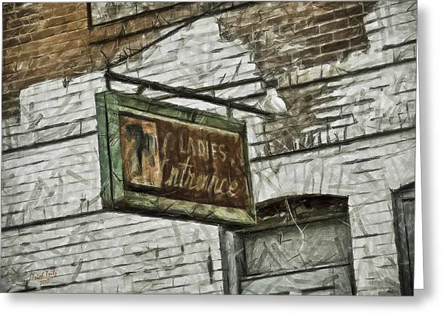 7up Sign Greeting Cards - The Ladies Entrance Greeting Card by Trish Tritz