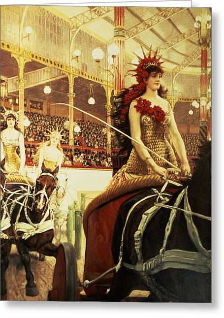 Cirque Greeting Cards - The Ladies Of The Cars, 1883-5 Oil On Canvas Greeting Card by James Jacques Joseph Tissot