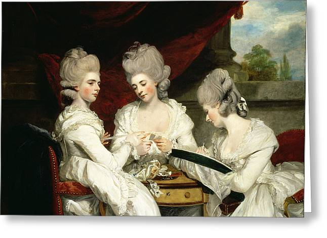 Armchair Greeting Cards - The Ladies Waldegrave, 1780 Oil On Canvas Greeting Card by Sir Joshua Reynolds