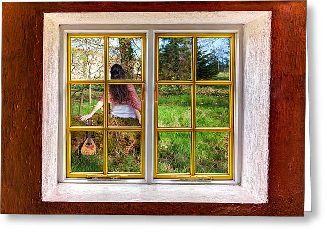 Hdr Look Greeting Cards - The Lady and the Banjo Greeting Card by Semmick Photo