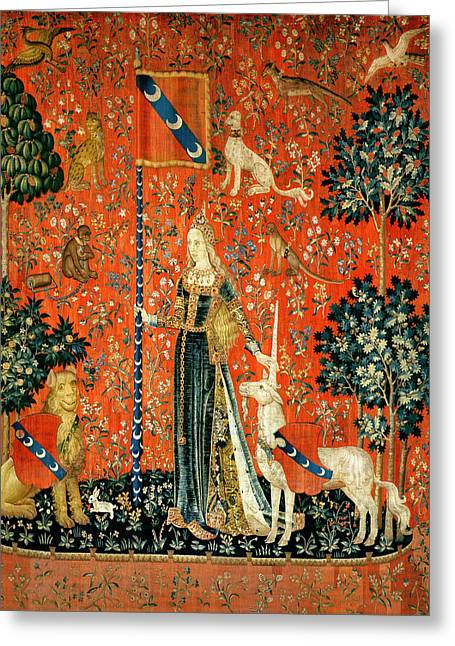 Lions Greeting Cards - The Lady And The Unicorn Touch Tapestry Greeting Card by French School