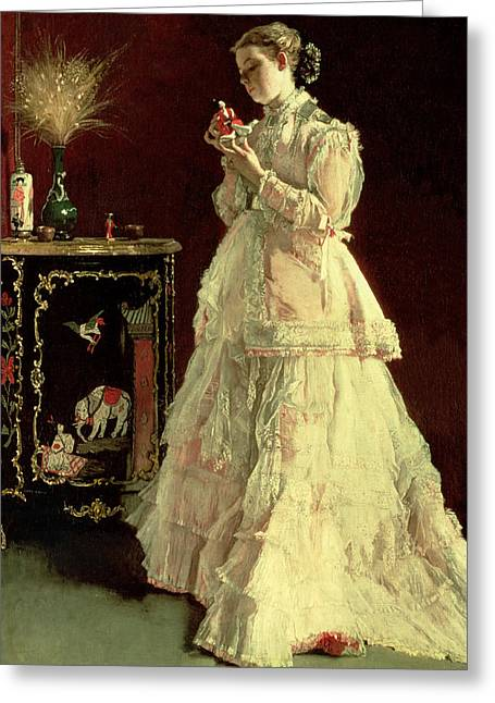 Lace Dress Greeting Cards - The Lady In Pink, 1867 Oil On Panel Greeting Card by Alfred Emile Stevens