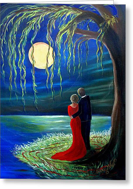 Recently Sold -  - Willow Lake Greeting Cards - The Lady in Red Greeting Card by Beckie J Neff
