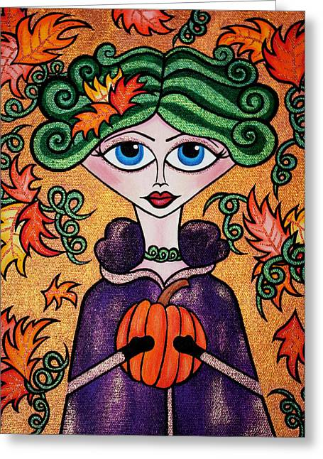 Colors Of Autumn Drawings Greeting Cards - The Lady of Deireadh Fomhair Greeting Card by Morning Coffee