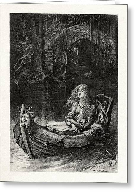 1916 Drawings Greeting Cards - The Lady of Shalott Greeting Card by Celestial Images