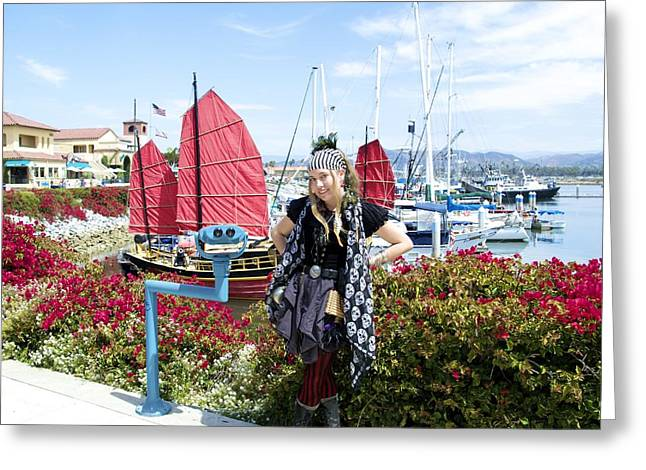 Pirate Ship Greeting Cards - The Lady Pirate Greeting Card by The Lady Pirate