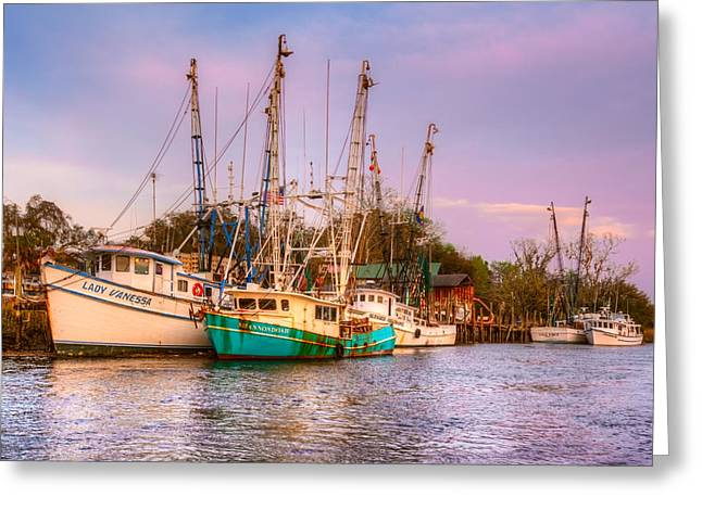 Docked Sailboats Greeting Cards - The Lady Vanessa Greeting Card by Debra and Dave Vanderlaan
