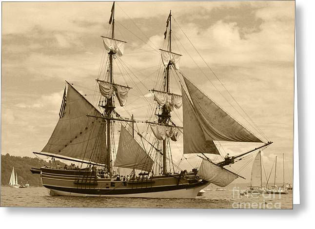 Ship In Sepia Greeting Cards - The Lady Washington Ship Greeting Card by Kym Backland