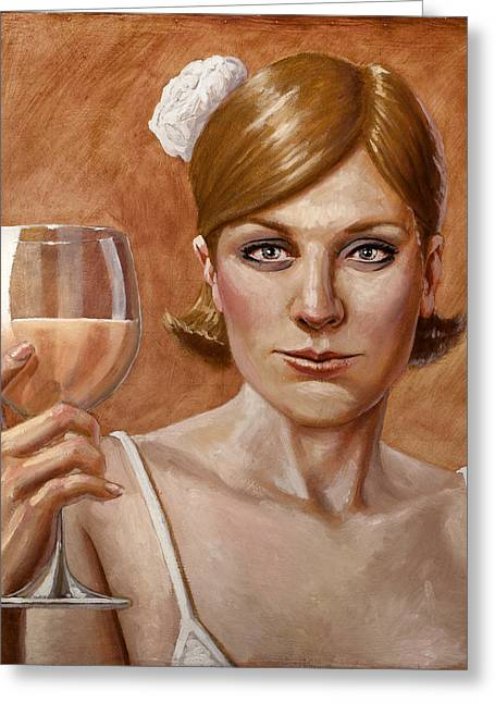Glass Of Wine Paintings Greeting Cards - The Lady White Greeting Card by Mark Zelmer