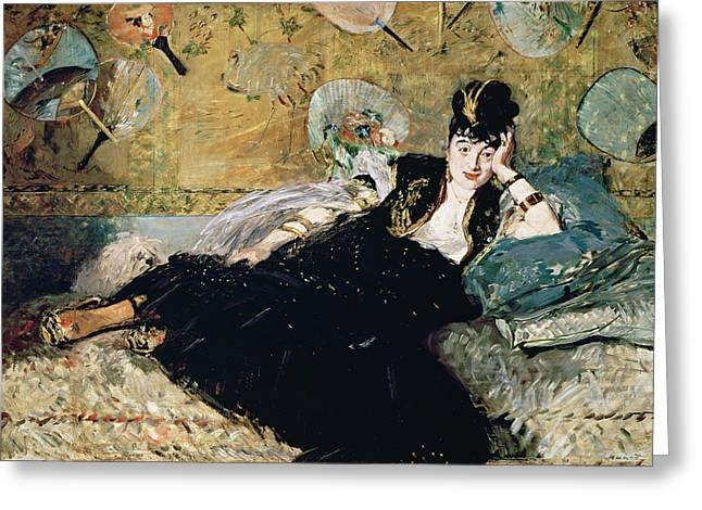 Eventail Greeting Cards - The Lady With Fans, Portrait Of Nina De Callias 1844-84 C.1873-74 Oil On Canvas Greeting Card by Edouard Manet