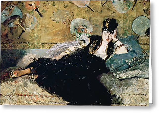 The Lady With Fans, Portrait Of Nina De Callias Greeting Card by Edouard Manet