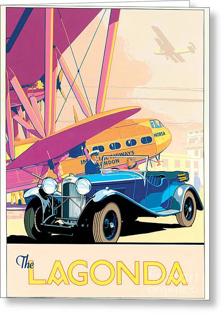 Flying Planes Greeting Cards - The Lagonda Greeting Card by Brian James